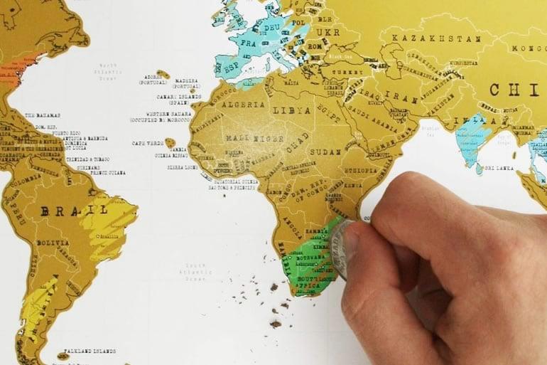 Cartina Geografica Per Segnare Luoghi Visitati.Mappa Per Viaggiatori Scratch Map