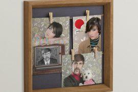 Portafoto con mollette in legno