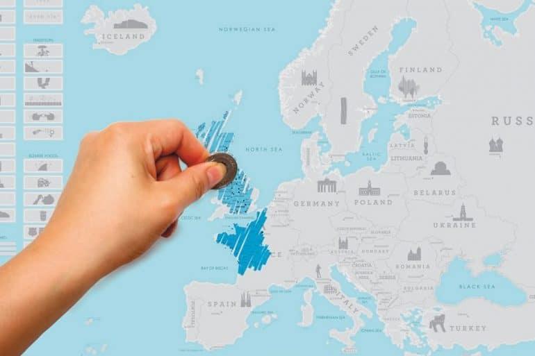 Cartina Mondo Tiger.Mappa Dell Europa Da Grattare