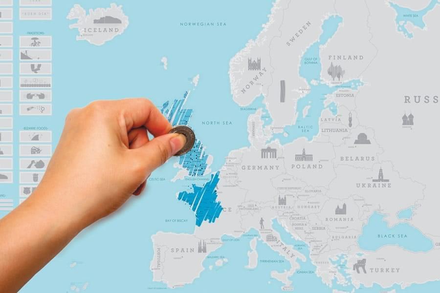 Cartina Mondo Che Si Gratta.Mappa Dell Europa Da Grattare