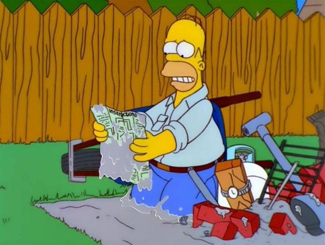 Homer che costruisce il barbecue