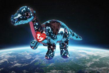 Dinosauro con paillette di SpaceX